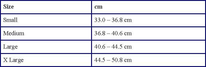 LP knee brace sizing chart